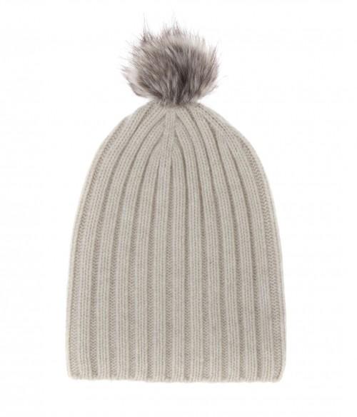 Pom Pom Cashmere Ribbed Hat