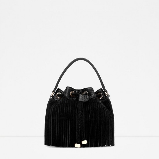 Zara Fringed Bucket Bag with Long Strap