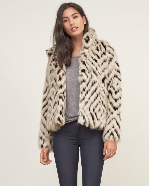 A&F Patterned Faux Fur Jacket