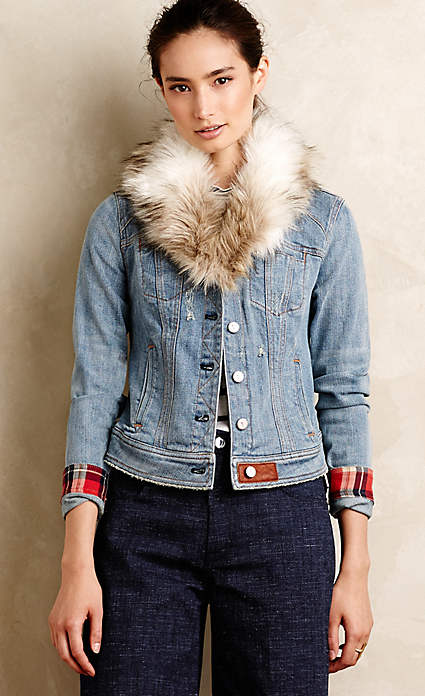 Anthroplogie Faux-Fur Denim Jacket