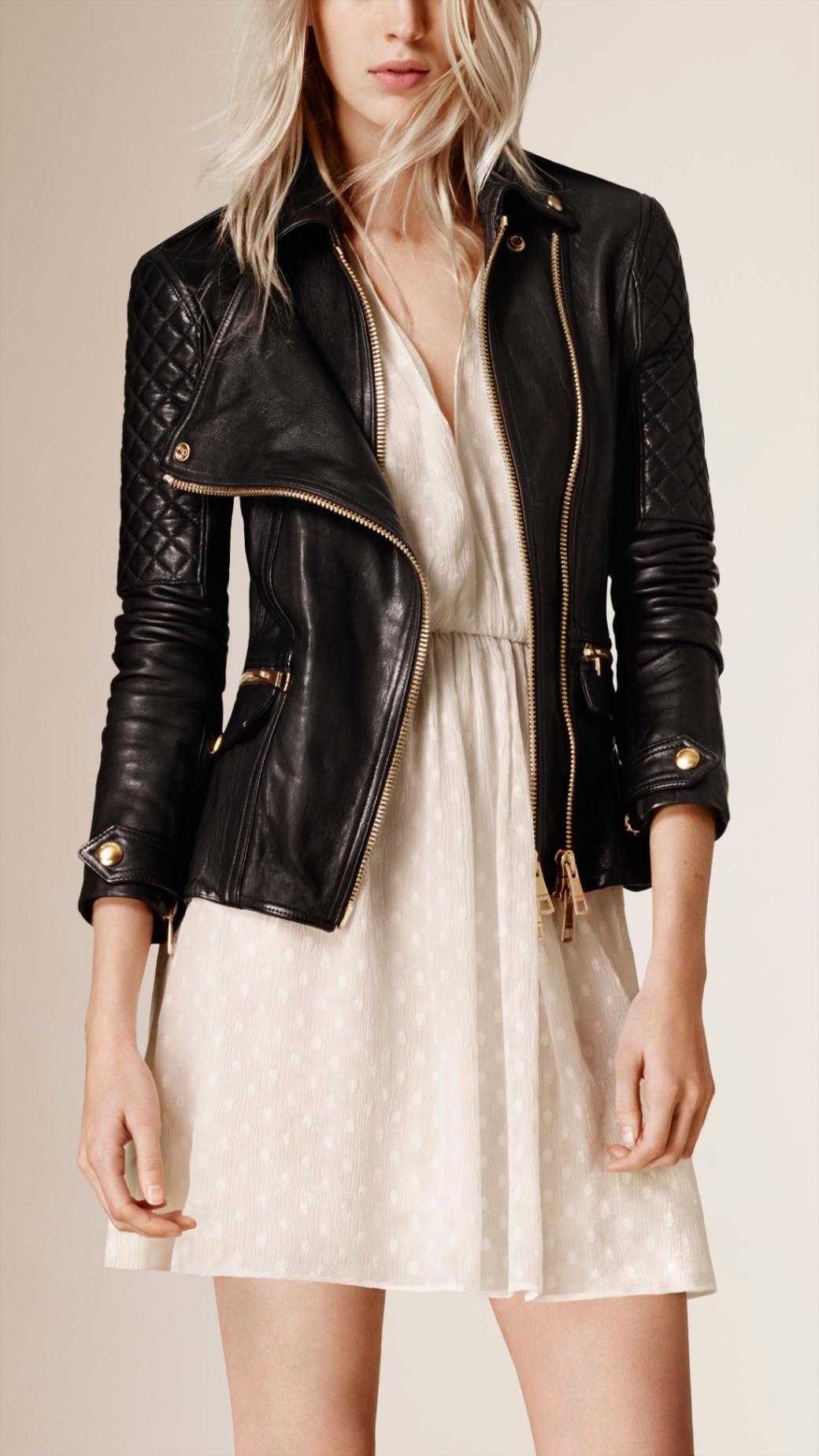 Leather jacket uniqlo - Burberry Diamond Quilt Detail Leather Biker Jacket