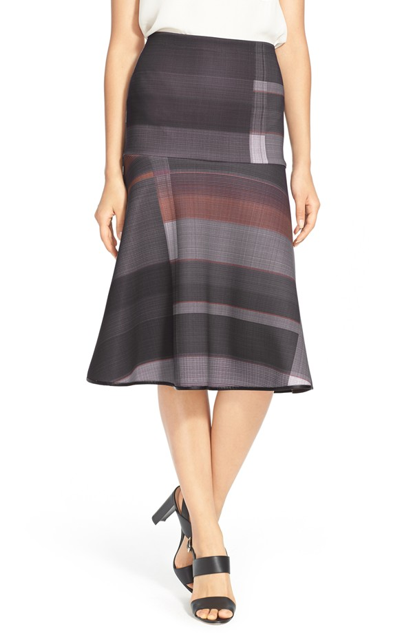 Clover Canyon Midnight Plaid A-line Midi Skirt