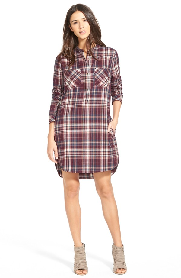 Treasure & Bond Popover Plaid Shirtdress