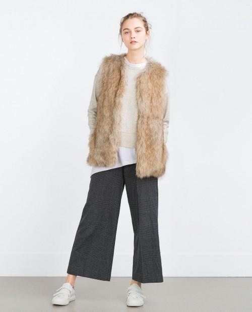 Zara Long Furry Waistcoat
