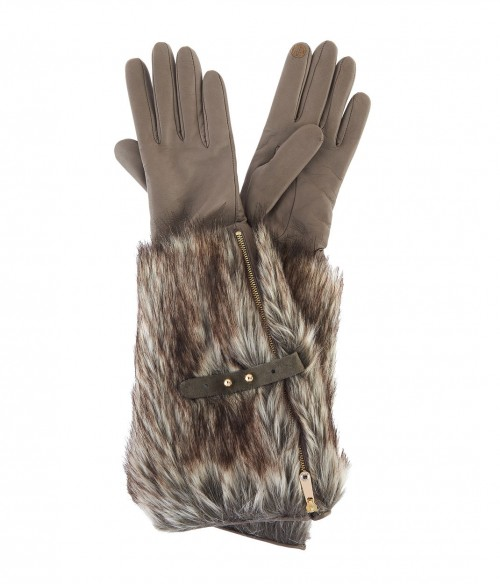 Faux Fur Long Leather Gloves