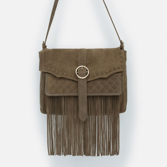Zara Leather Messenger Bag with Fringes