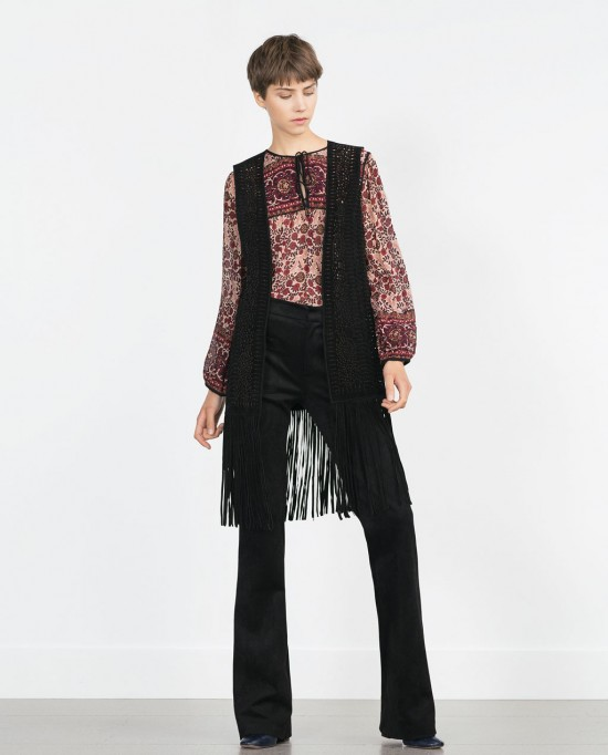 Zara Long Waist Coat with Fringing