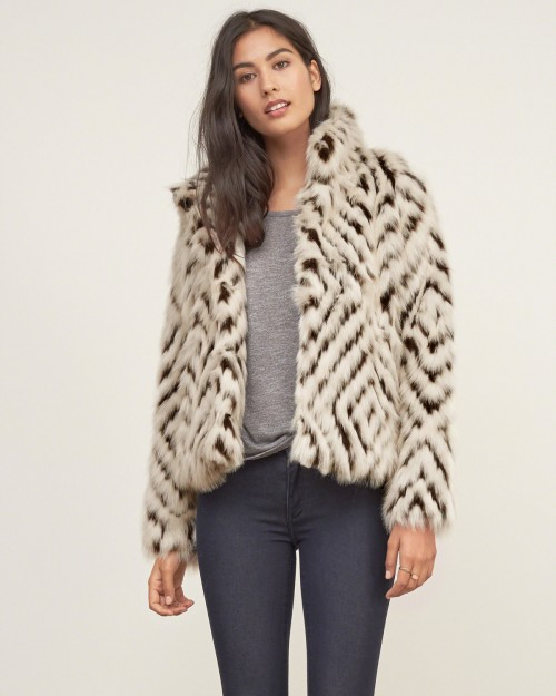 A&F Patterned Faux Fur Jacket