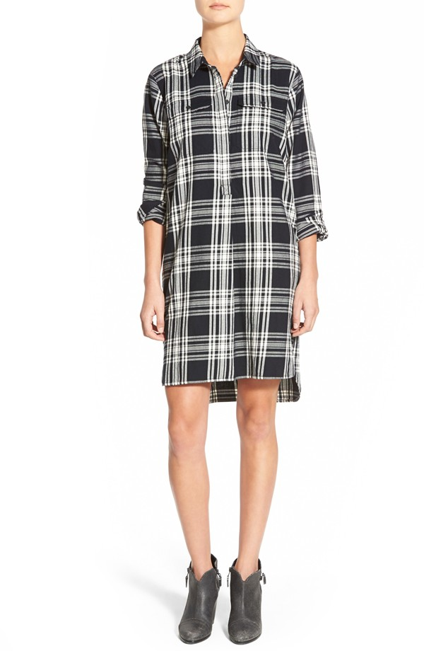 Madewell 'Day Walk' Glendale Plaid Flannel Shirtdress