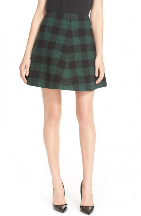 Red Valentino Buffalo Plaid Skirt
