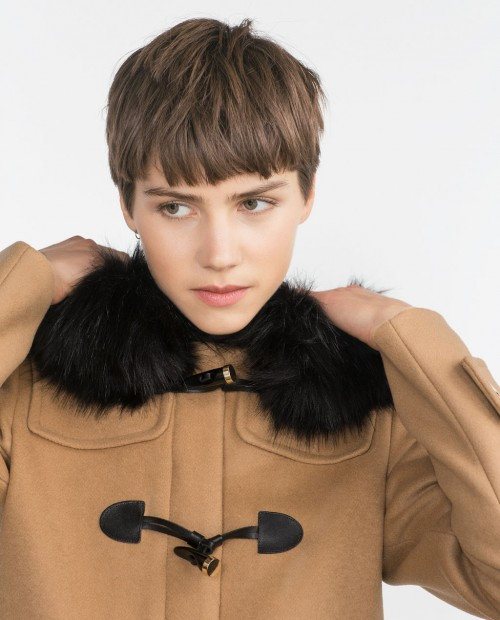 Zara Duffle Coat with Faux Fur Lined Hood