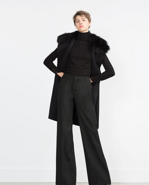 Zara Long Vest with Fur Collar