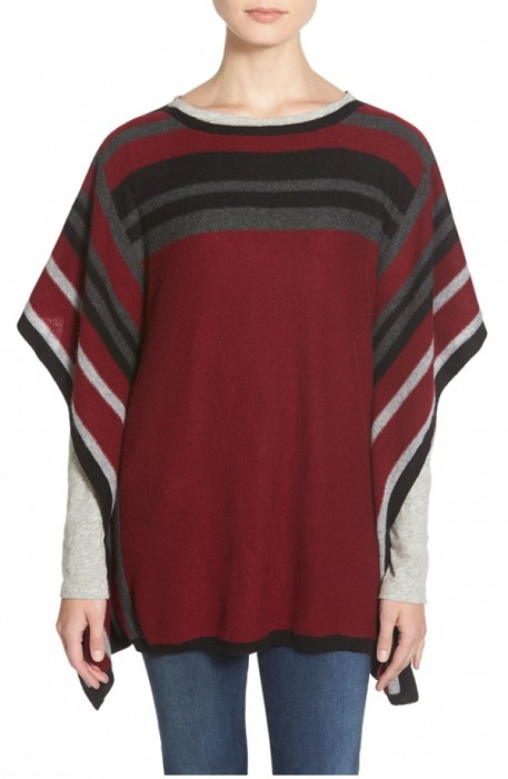 Nordstrom Strip Cashmere Poncho