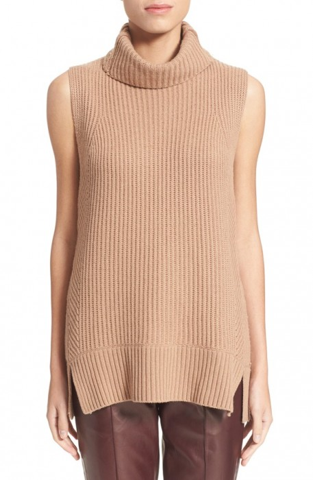 Vince Sleeveless Ribbed Wool Turtleneck