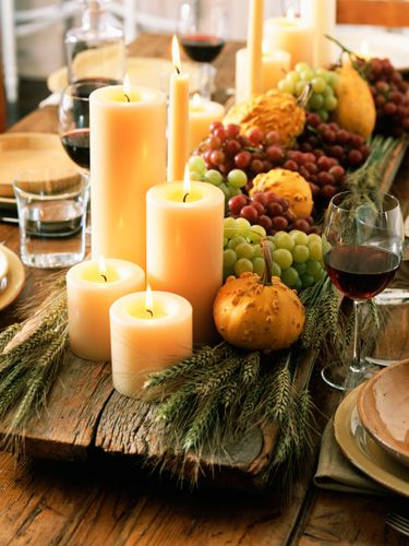 mixed candle with greens, gourds and fruit